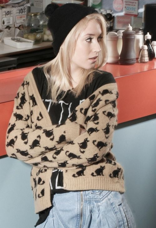 Because I love Lily Loveless (from Skins), and that cat sweater.