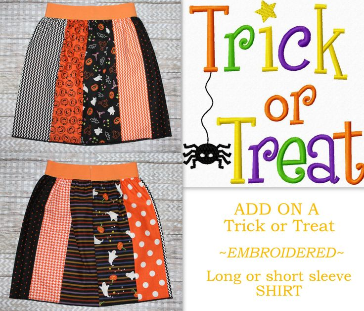 Girl Halloween Outfit Girls 5T Halloween Clothing  Trick Or Treat Embroidery Shirt Twin Girl Outfits VIEW ALL PHOTOS See Details Below by JacobandChloesLLC on Etsy