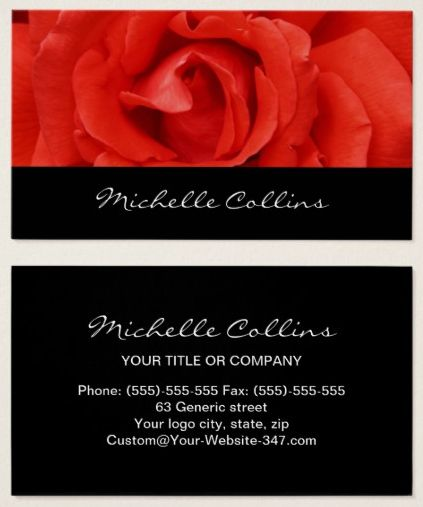 88 best business cards images on pinterest business cards carte elegant red rose business cards personal profile or professional business cards for women stopboris Images