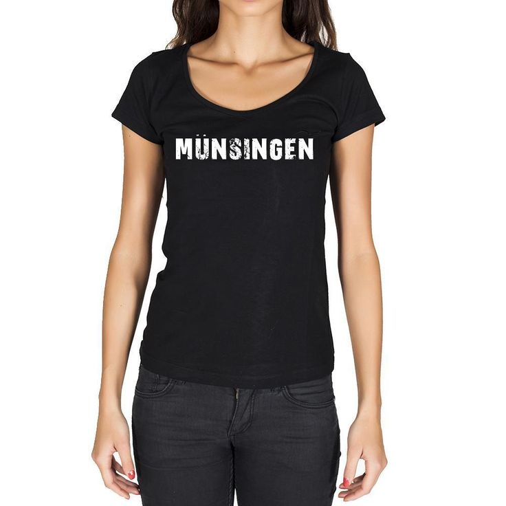 münsingen, German Cities Black, Women's Short Sleeve Rounded Neck T-shirt