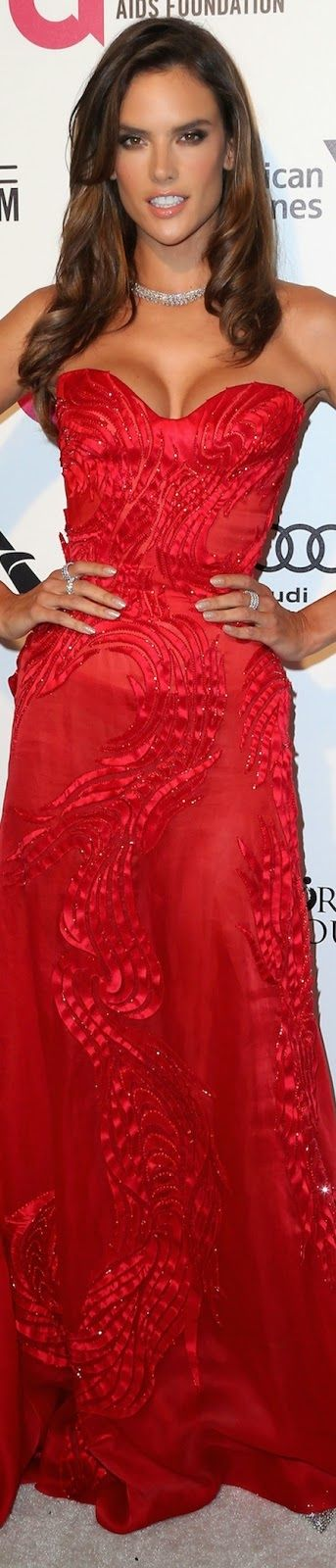 Alessandra Ambrosio in a red strapless gown by Atelier Versace