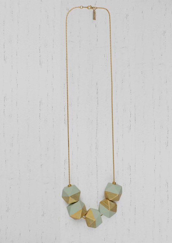 Legno di collana perle geometriche dipinte  catena di ephemereshop