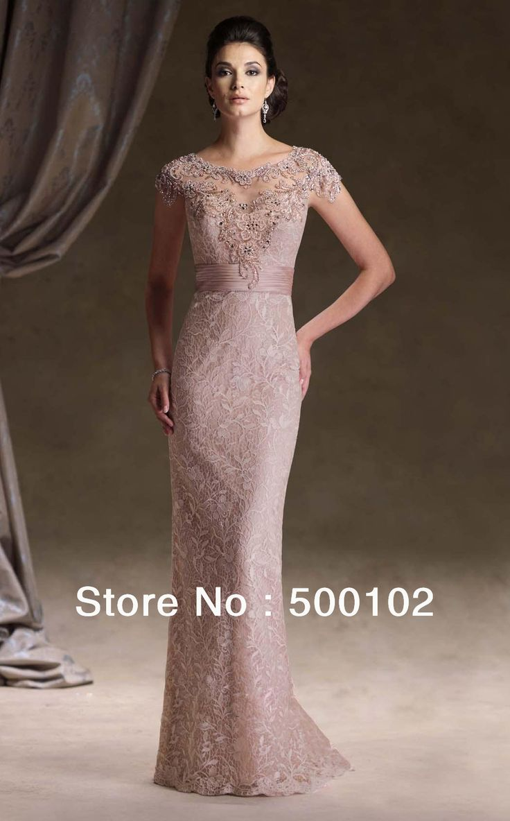 ali express fashion express wedding dresses Sheath Column Lace Scoop Natural Waist Floor Length Keyhole Back Cap Sleeve Mother Of The Bride Dress picture 1