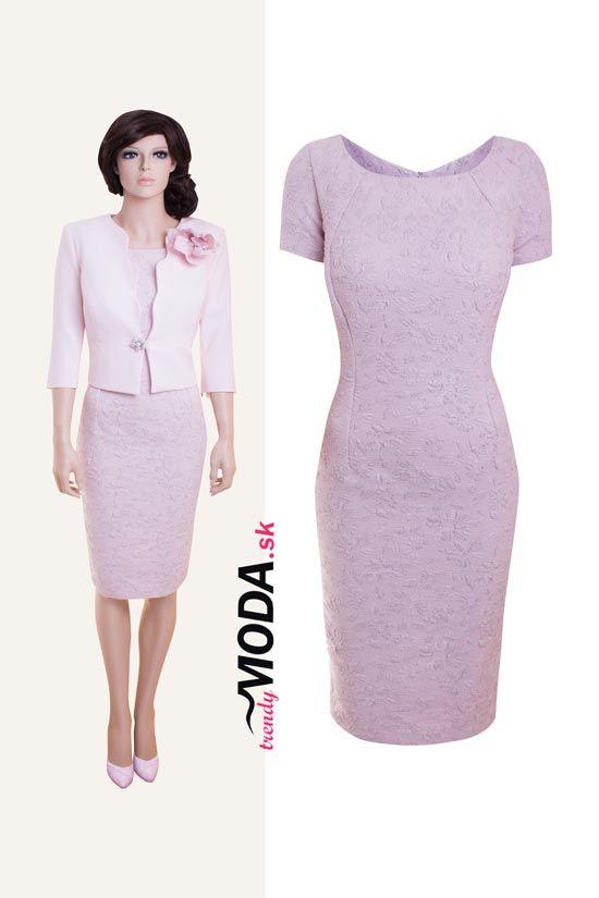 Krásne elegantné dámske šaty s kabátikom v pastelovej ružovej farbe-trendymoda.sk