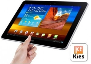 Skip the Samsung KIES 2.0, and use the free File Expert app to share files between your PC and your Android tablet; File Expert makes your tablet into an FTP server with an IP number and a port number.  Using an FTP client on your computer, you can then transfer files to and from PC and tablet by merely dragging and dropping.