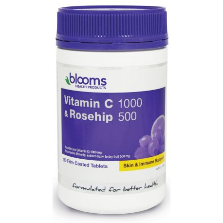 Buy Blooms Health Products Vitamin C 1000 with Rosehip 500mg 180 Tablets at Megavitamins Online Supplements Store Australia. Vitamin C 1000 with Rosehip 500mg for immune system & relief of colds and flu.