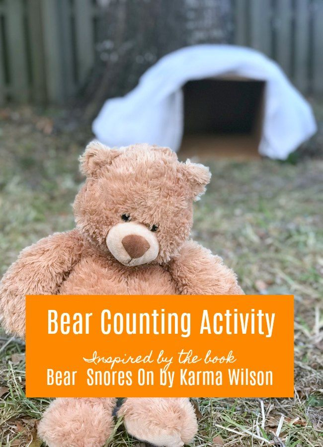 Bear Counting Activity inspired by Bear Snores On by Karma Wilson #eduspin #vbcforkids #bookextenstions #hibernation #beartheme #preschool #kidlit