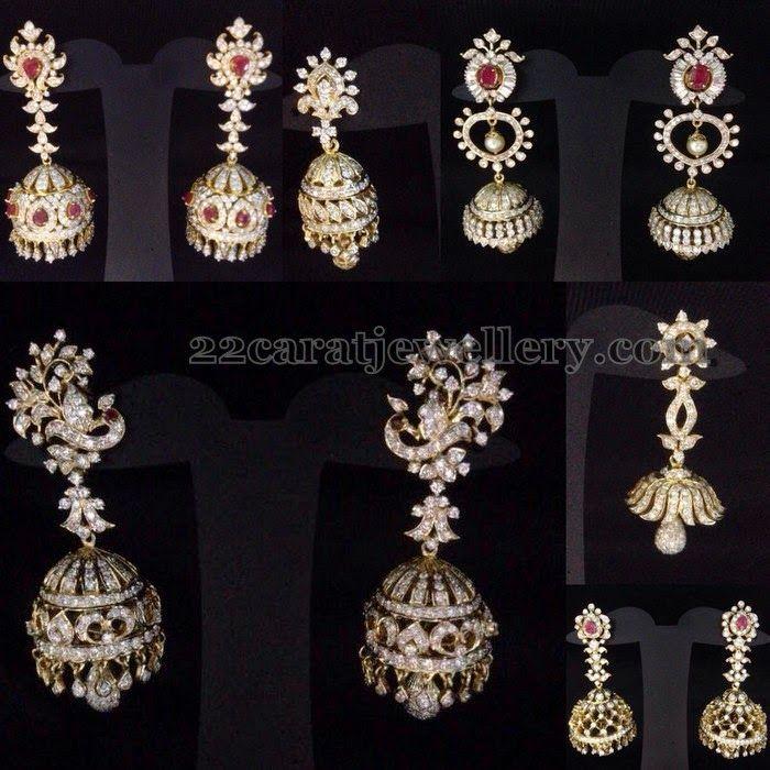 Jewellery Designs: Diamond Jhumkas New Collection