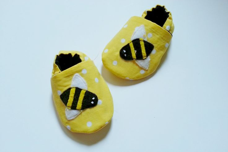 Bumble Bee Baby Booties Yellow Black Lined Slippers Shower Gift Cotton Soft Sole Shoe Newborn Maternity Baby Shower Gift Lined Shoe Polkadot by Cuddlythreads on Etsy