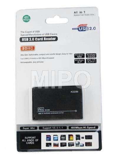 Card Reader 6slot Hi-Speed  Ultra Slim, Fashionable, Compact and Easy to carry, Fast USB 2.0 Interface 480 Mbps Hi-Speed  Features: - Ultra Slim - Fast USB 2.0 Interface - No Power Adaptor required - Hot Swapable - Plug and Play  Specification: - Support Windows 98/2000/ME/XP/VISTA/Win 7 & 8 - Support Mac OS 8.6, 9.x, 10.1x, 10.2x or higher - Support Linux 2.4 or Later  Package Content: 1x Card Reader 6slot Hi-Speed 1x Data Cable  Harga rp75.000 Info detail di : www.tokomipo.com