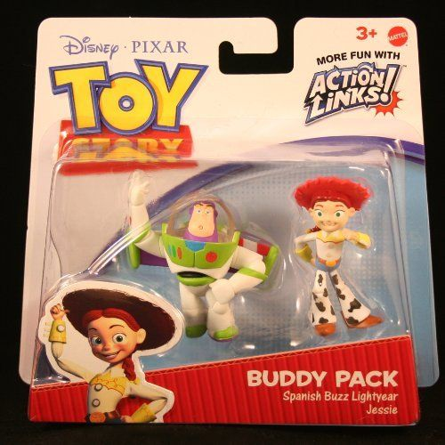 SPANISH BUZZ LIGHTYEAR & JESSIE Toy Story 3 Buddy Pack DISNEY / PIXAR Mini Figures * 2 Pack * by Mattel. $11.98. Figures are approximately 2 inches tall.. SPANISH BUZZ LIGHTYEAR & JESSIE Toy Story 3 Buddy Pack DISNEY / PIXAR Mini Figures * 2 Pack *. Based on the popular animated film Toy Story 3.. Each is stylized and highly detailed.. Ages 3 and up.. SPANISH BUZZ LIGHTYEAR & JESSIE Toy Story 3 Buddy Pack DISNEY / PIXAR Mini Figures. It's time to team up for the next ad...
