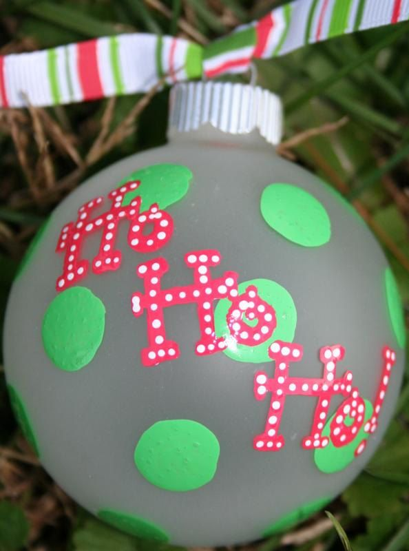 Hand Panted Christmas Ornament - Ho Ho Ho.  I like the polka dots and the dotted lettering.