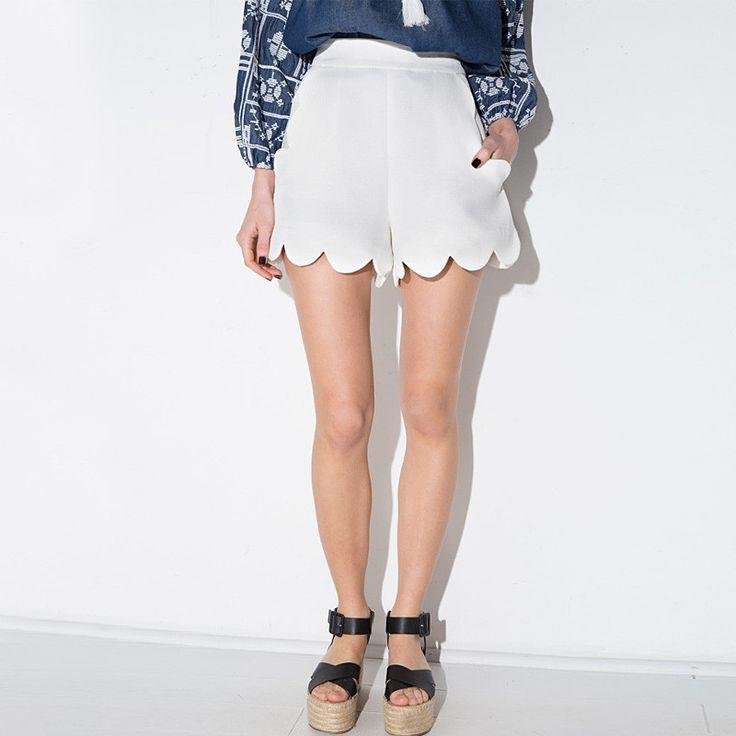 Women new fashion summer waves hem slim hot shorts women solid color casual women white shorts ZP1029