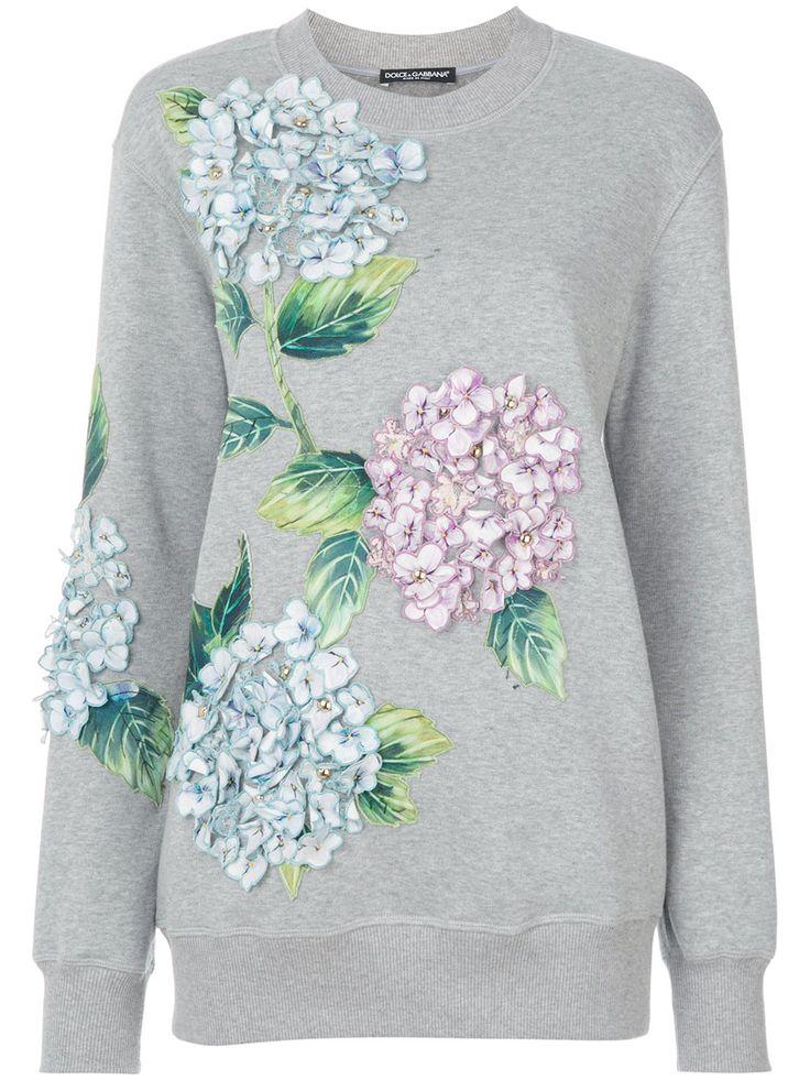 Dolce & Gabbana sudadera con apliques de hortensias