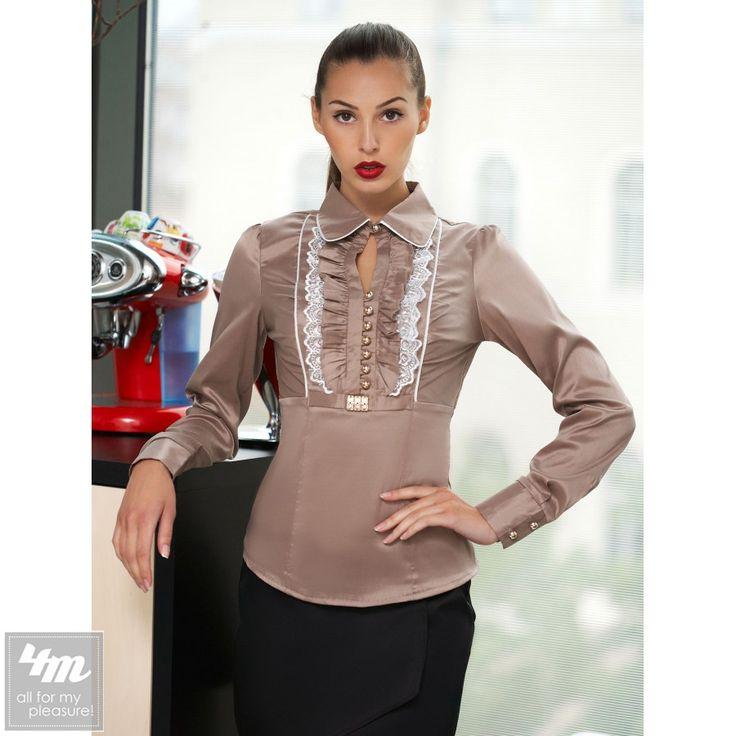 Блуза Glem «Каролина Д/Р» (Бежевый-белая отделка) http://lnk.al/3YAp  #блузы #блуза #блузка #блузки #стильныйобраз #лукдня #мода #вещи #одеждаУкраина #4m #4m.com.ua