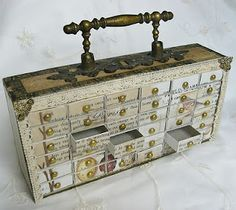"""wow this is a cigar box, """"drawers"""" are matchboxes, template is on the site, much easier than it looks."""