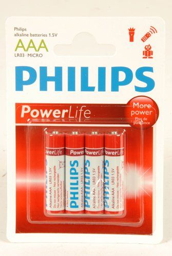 4-Pack Philips Power Alkaline Batterijen (AAA LR03-Micro 1.5V)