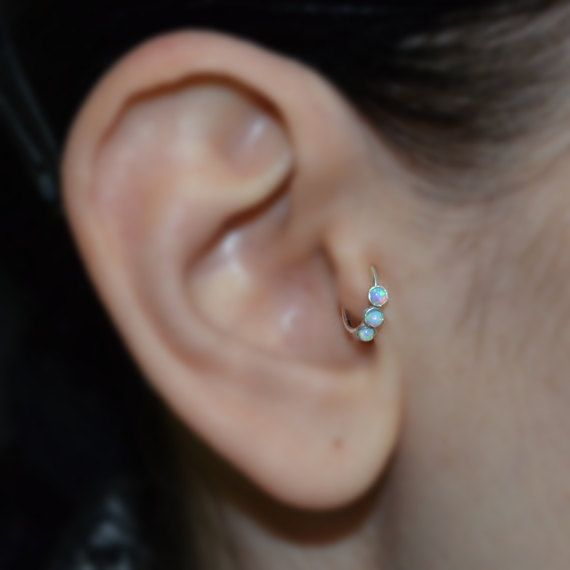 Blue 2mm Opal Tragus Ring Silver Nose Hoop By