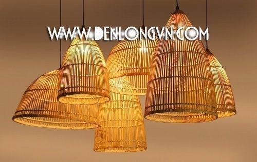 Đèn nơm tre trang trí không gian tre gỗ