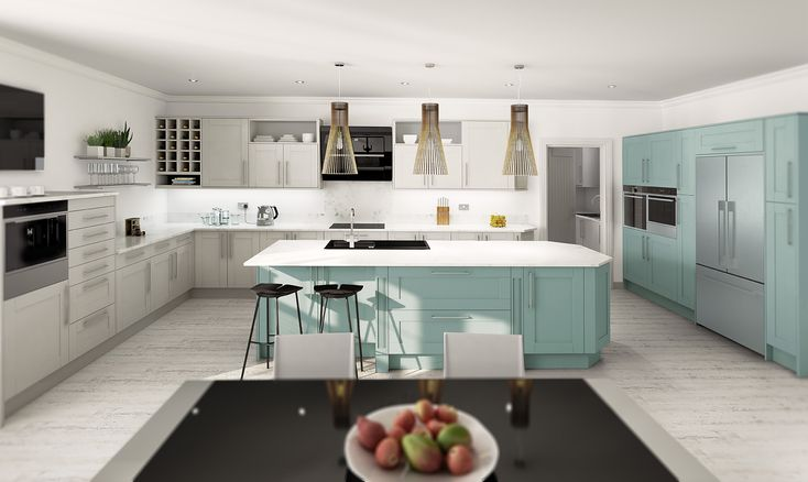 Academy Midsomer Traditional Kitchen in Pale Grey and Grey Aqua
