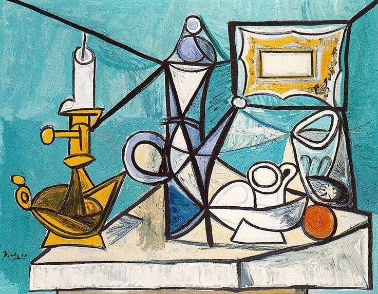 Still life with lamp - Pablo Picasso this piece is made to look completely flat, 2D. The thick bold black lines join with one another and make it look as if everything is conjoined and makes this piece another puzzle. The most noticeable thing is the candle, mainly because the yellow stands out from the sea of blue that the rest of the background consists of. There is then what may be a teacup and a large jug, plus possibly a tomato, orange or biscuit all in the center and middle right of…