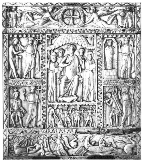 Le démoniaque de Gérasa, Ivoire de MURANO, Ve siècle- IVOIRE BARBERINI, 3) IDENTIFI. DE L'EMPEREUR 3.2 HYPOTHESE DE JUSTINIEN, 5: Outre les ivoires comme celui de MURANO, les bas-reliefs de la colonne d'Arcadius ou le décor du sarcophage de Sarigüzelen constituent autant d'exemples célèbres. La substitution d'un buste du Christ à la croix dans la couronne sur l'ivoire BARBERINI marque un degré supplémentaire dans la christianisation du relief qui paraît ainsi plus tardif que le règne…