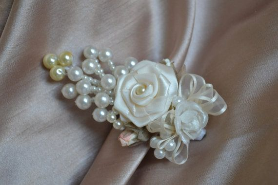 Wedding Men's Boutonniere Satin Flower with pearls by CasaAraiza, $15.00