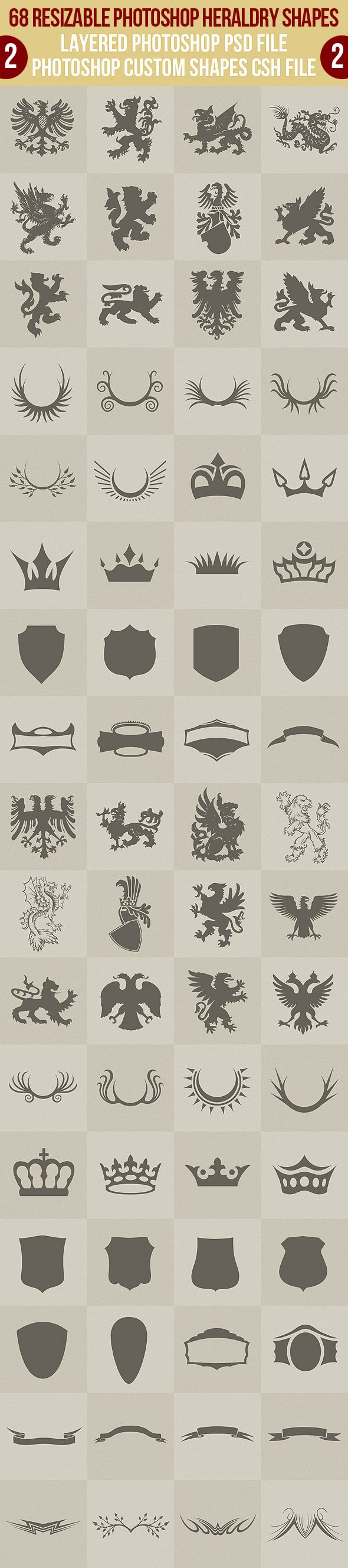 68 Photoshop Heraldry Shapes 2 - Symbols Shapes
