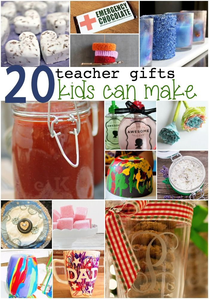 Teachers love cute handmade gifts from their students. Check out these 20 gifts for teachers kids can make!