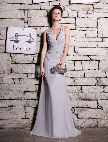 Robe charmante de soirée grise fourreau en chiffon et perles col V - Milanoo.com