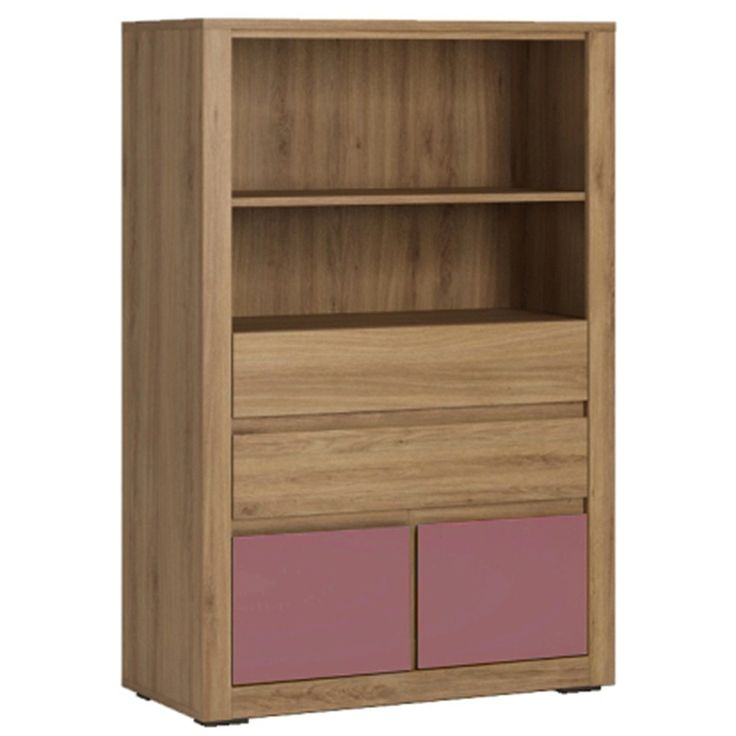 Hobby 4 Drawer Storage Unit With Open Top Shelf In Oak Melamine & Violet - Whether used in the kids bedroom, living room or your own bedroom, the Hobby range offers from Furniture To Go offers you unlimited possibilities for storage and décor in some very funky and unique colour combinations.
