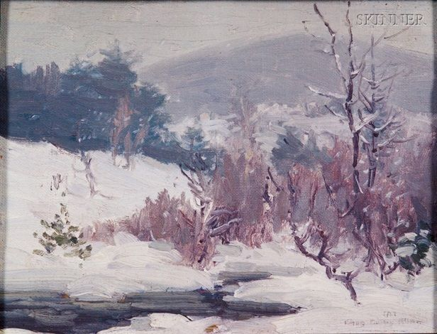 """""""Winter on Mt. Monadnock,"""" Charles Curtis Allen, oil on canvas laid on board, 8 x 10.25"""", private collection."""