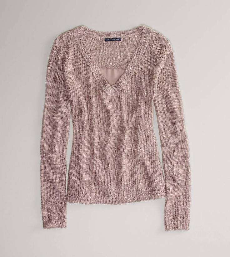AE Chiffon-Back Sweater
