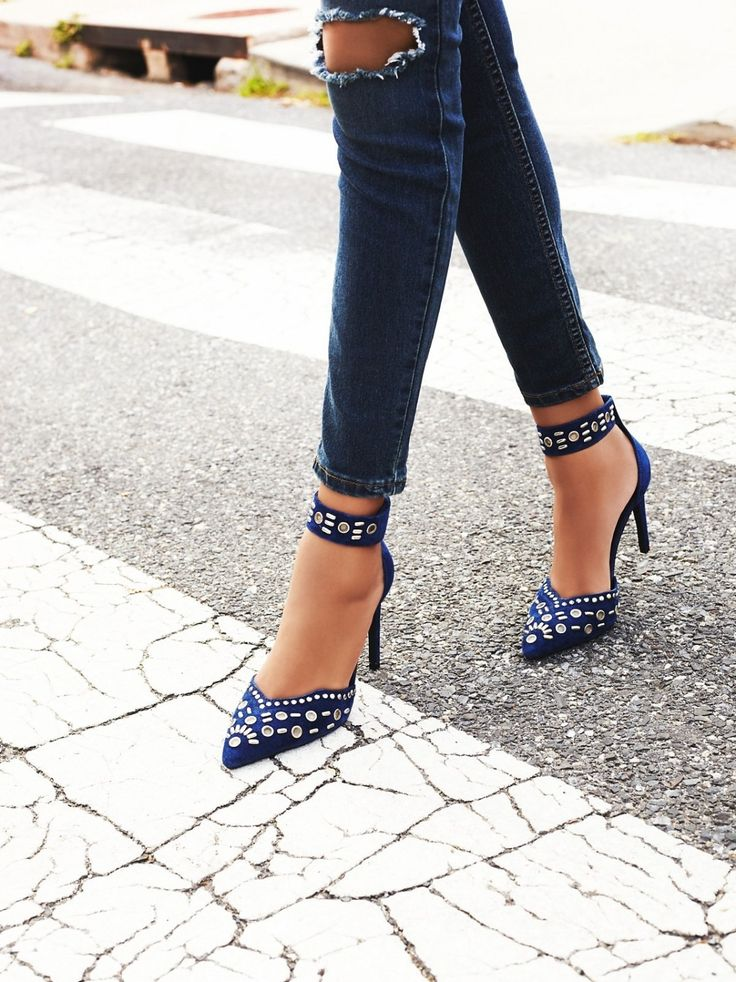 Obsessed with these studded ankle strap heels.