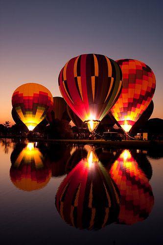 Glow of hot air balloons