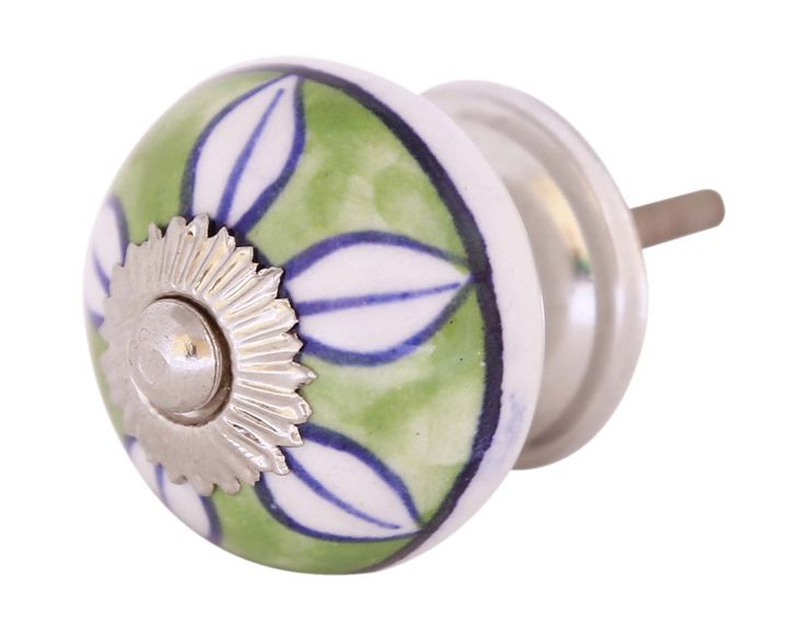 Bulk Wholesale Cabinet / Dresser / Drawer Knobs / Pulls (Set of 2) Handmade in Ceramic & Metal – Decorated with Leafy Patterns over Green & White Base – Ethnic-Look Home Décor