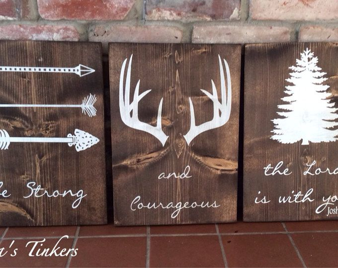 Be strong and courageous The Lord is with you. Joshua 1:9. Set of 3 painted wood signs. Woodland nursery. Outdoor nursery. Baby shower gift