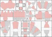 Розовые полосы и черный горошек: Коробки для печати бесплатно.