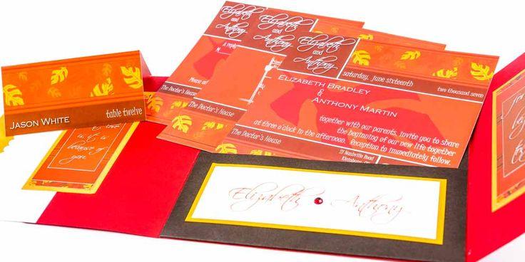 Modern Wedding Invitation Suite | Wedding Pocketfold Invitation | Red Orange Brown | Fall Wedding | Save the Date | Wedding Stationery