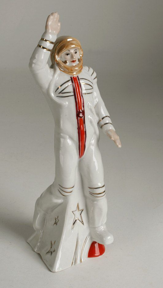 Fine old porcelain figurine of a Soviet Russian cosmonaut.  Made by the Korosten Factory in Korosten, Ukraine, USSR, circa 1970's. etsy.com