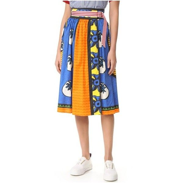 Stella Jean Belted Wrap Skirt (35.085 RUB) found on Polyvore featuring women's fashion, skirts, multi color, cotton stretch skirt, colorful skirts, striped wrap skirt, stretch skirts and stella jean skirt