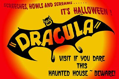 Halloween Flying Bat Scary Scream Haunted House Vintage Poster Repro FREE S/H
