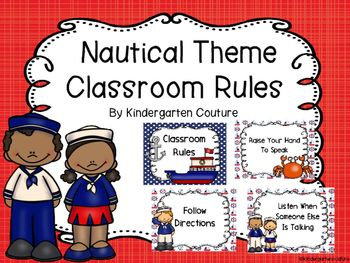 Brighten up your room with these adorable Nautical Theme Classroom Rules. Rules included are:1. Raise your hand to speak2. Follow Directions3. Keep Hands & Feet to yourself4. Listen when someone else is talking5. Be PoliteNautical Theme Binder CoversNautical Theme Number PostersNautical Theme Behavior Clip ChartNautical Theme Classroom RulesNautical Theme Table NumbersNautical Theme Word Wall & 200 Fry WordsNautical Schedule CardsEditable Center Signs -Nautical ThemeFREE Nautical Desk...