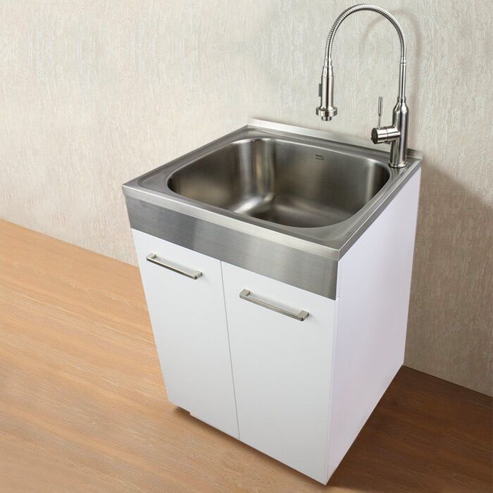 23 6 X 19 7 Free Standing Laundry Sink With Faucet Laundry Sink Laundry Room Sink Laundry Room Utility Sink