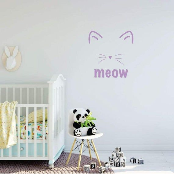 Nursery Wall Decal – Meow Cat Design – Vinyl Decor for Baby's Room, Bedroom or Play Room