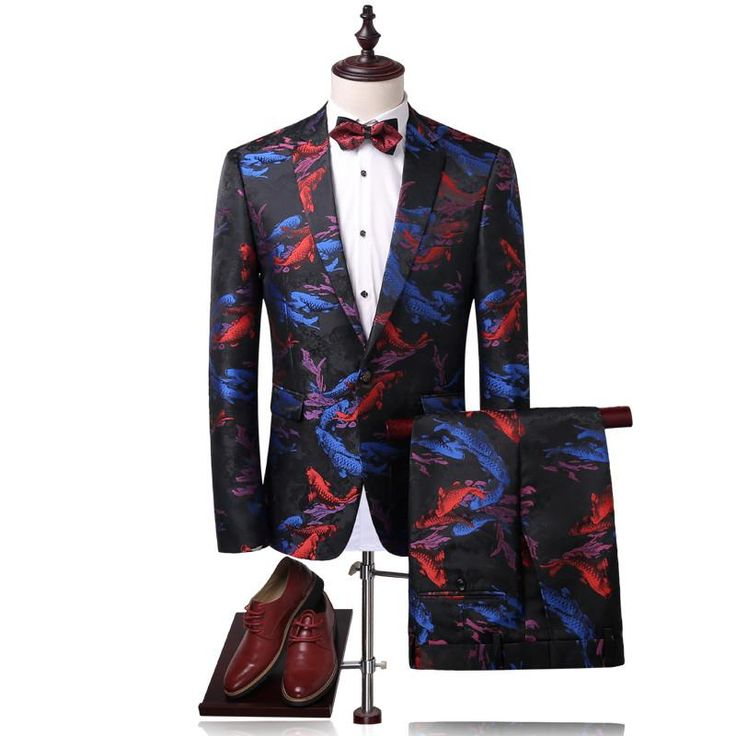 New Men Jacket & pants style goldfish pattern single button wedding Business Suit blazer