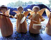 Corn Husk Angel Czechoslovakian Handmade Vintage Christmas Ornament Group of Four Musical