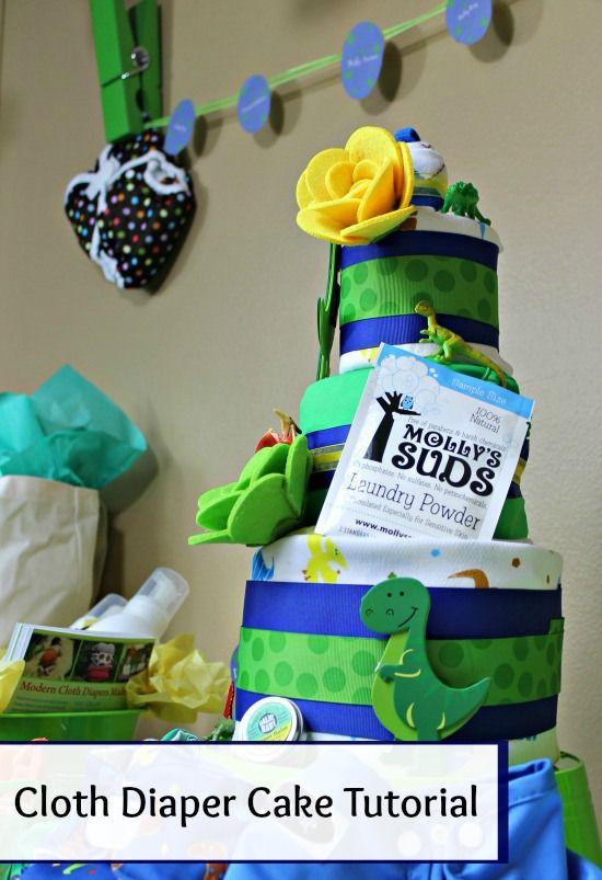 Cloth Diaper Cake DIY Tutorial (with video) Dinosaur Theme