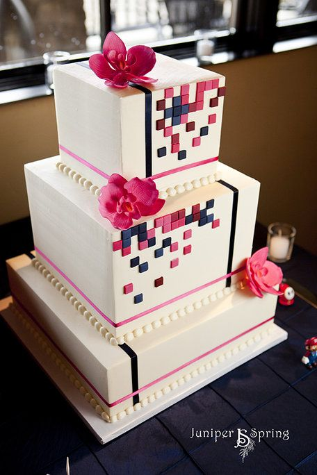 Great Modern cake , black white and pink