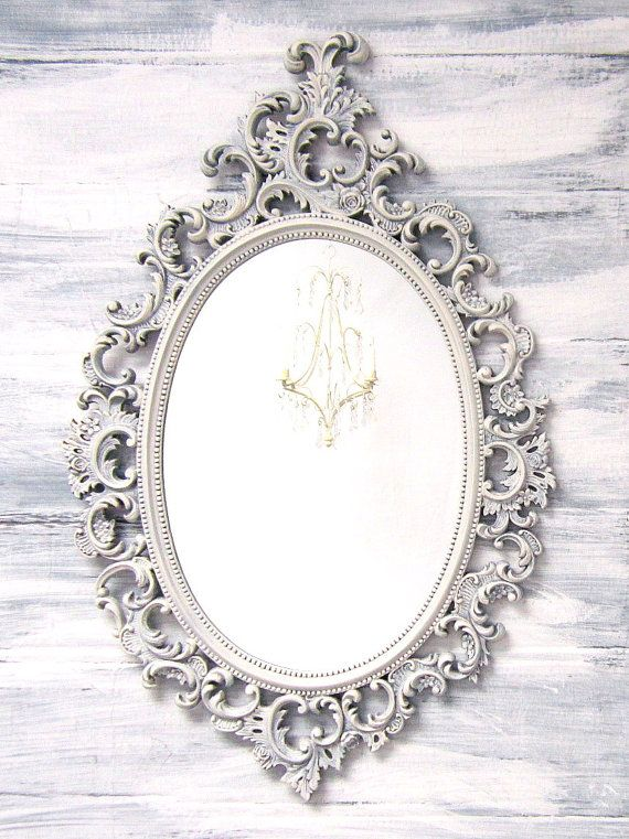 DECORATIVE VINTAGE MIRRORS For Sale French Country Oval Shabby Chic Mirror 33x21 Ornate